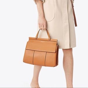 Tory Burch Leather T-Satchel in British Tan!